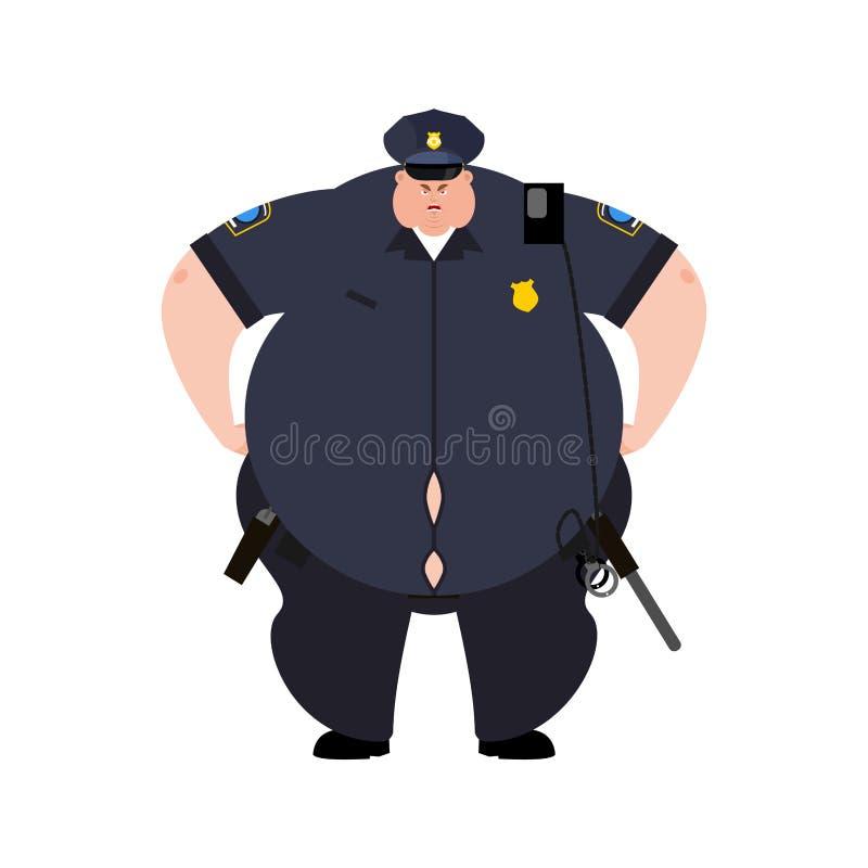 Gruby policjant Gęsty policjant Otyła oficer policja Wektorowy illustrat ilustracja wektor