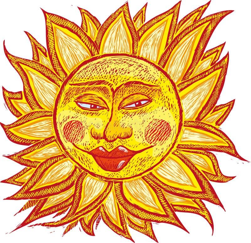 gruby starego słońca ilustracja wektor