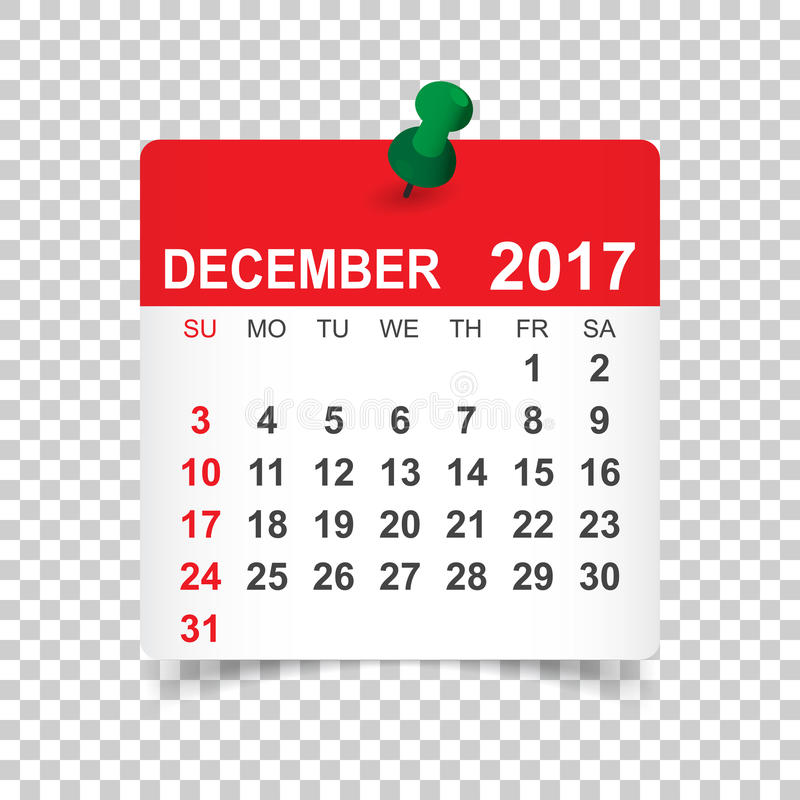 Grudnia 2017 kalendarz ilustracja wektor