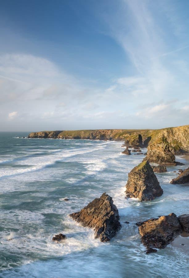 Grudnia popołudnie, Bedruthan kroki, Cornwall zdjęcia royalty free