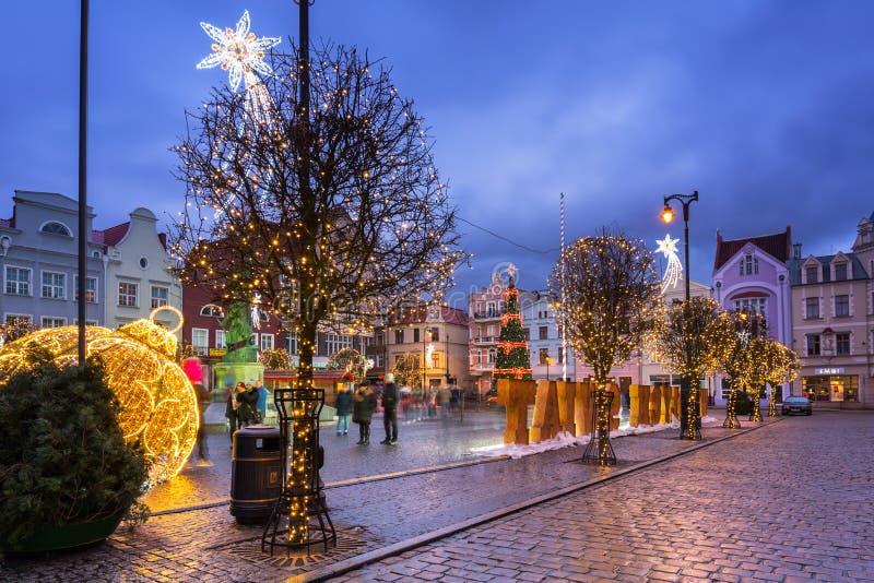 Grudziadz, Poland - December 26, 2019: Beautiful christmas tree on the market squere of Grudziadz, Poland royalty free stock image