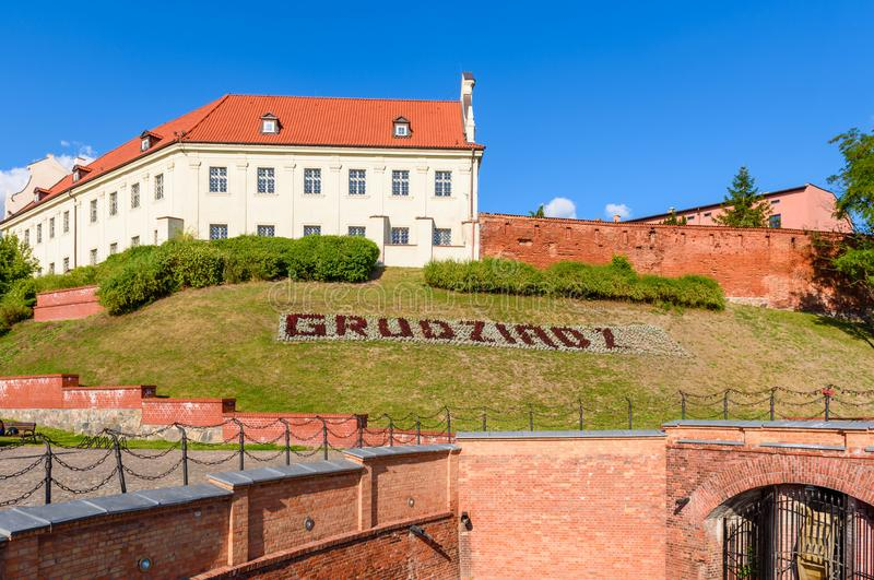 Old town of Grudziadz with beautiful architecture in sunny day stock photo