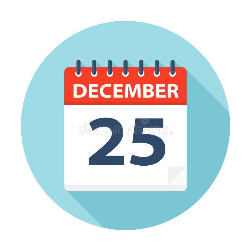 Grudzień 25 - Kalendarzowa ikona ilustracja wektor