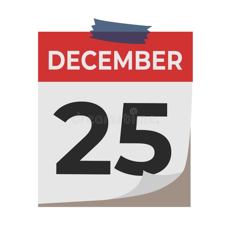 Grudzień 25 Kalendarzowa ikona odizolowywająca na białym tle Wydarzenia pojęcie balon kiście kalendarza pojęcia daty urodzin gosp royalty ilustracja