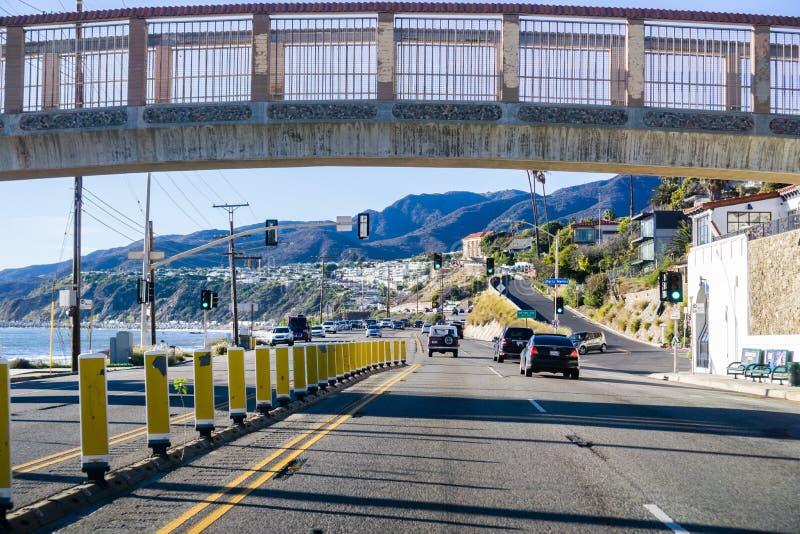 Grudzień 2, 2018 Los Angeles, CA, usa/- Jadący na autostradzie 1 o obrazy royalty free