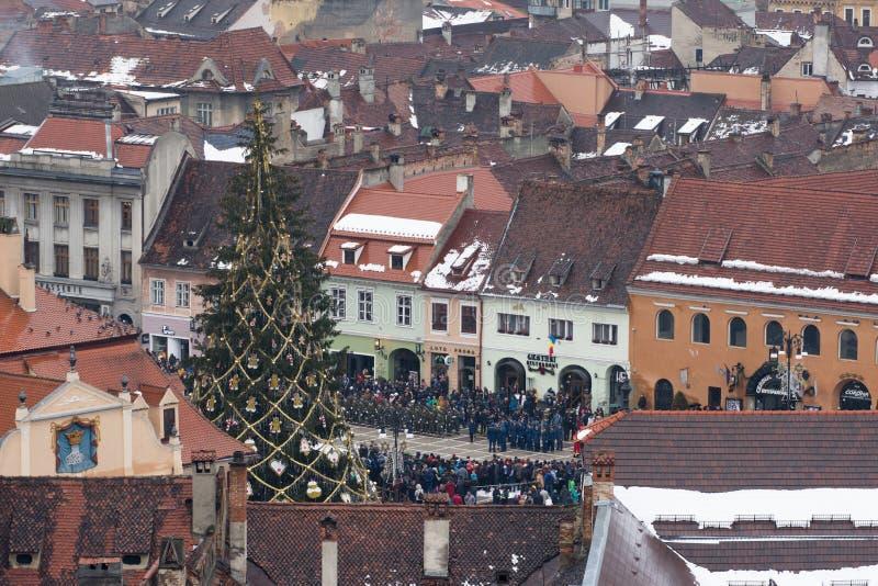 Grudzień 1st 2017 Brasov Rumunia, święto narodowe gody wewnątrz w rada kwadracie fotografia royalty free