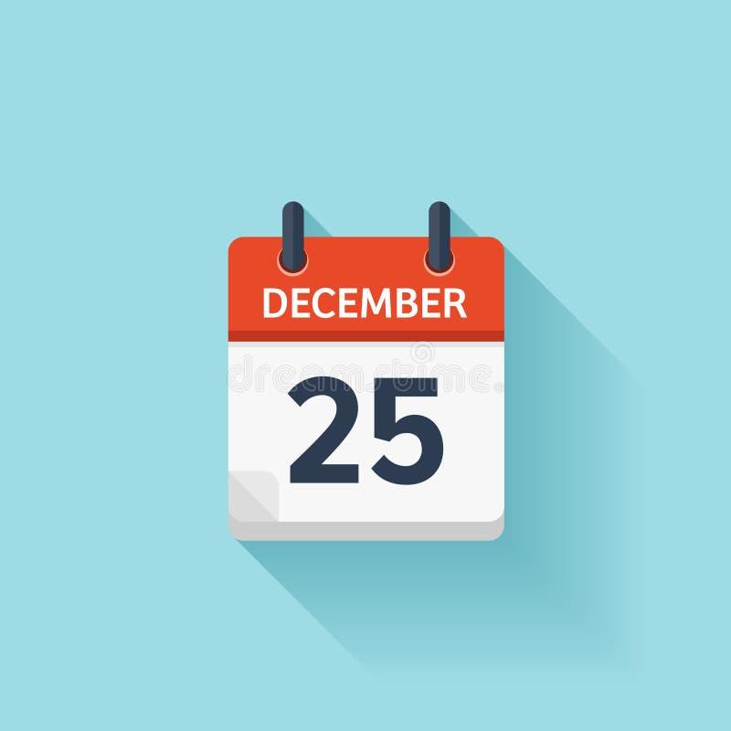 Grudzień 25 Wektorowa płaska dziennego kalendarza ikona Daktylowy i czasie, dzień, miesiąc wakacje ilustracja wektor