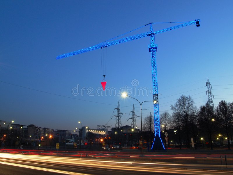 Grue de construction bleue artistique photos stock