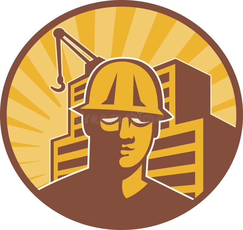 Grue de construction de travailleur de la construction rétro illustration libre de droits