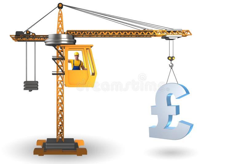 Grue de construction soulevant livre britannique dans les affaires Co de devise illustration libre de droits