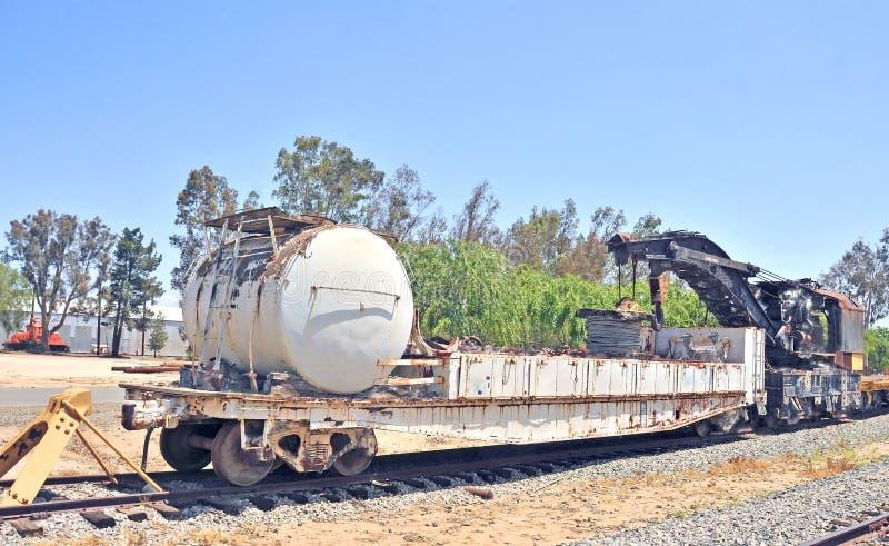 Grue de levage lourde Pacifique du sud de panne/entretien de chemin de fer photographie stock
