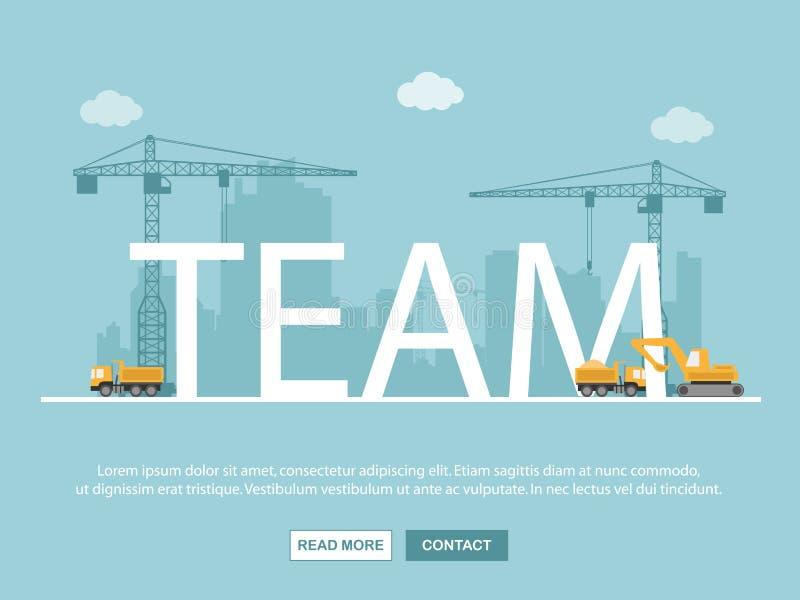 Grue et renforcement d'équipe Descripteur d'Infographic Illustration de vecteur illustration stock