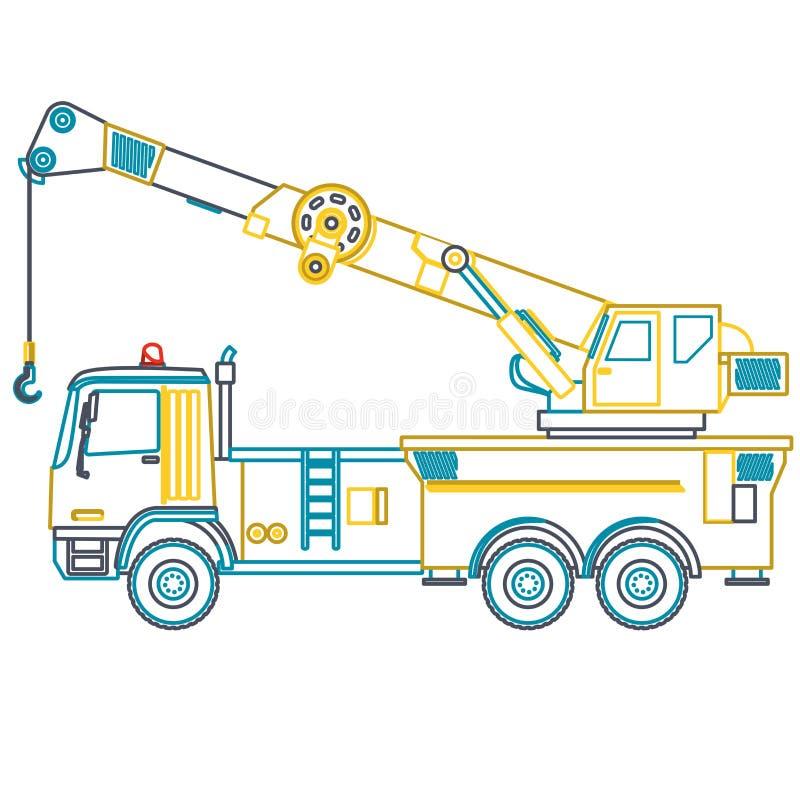 Grue jaune bleue d'ensemble avec le crochet et le bras sur le blanc illustration de vecteur