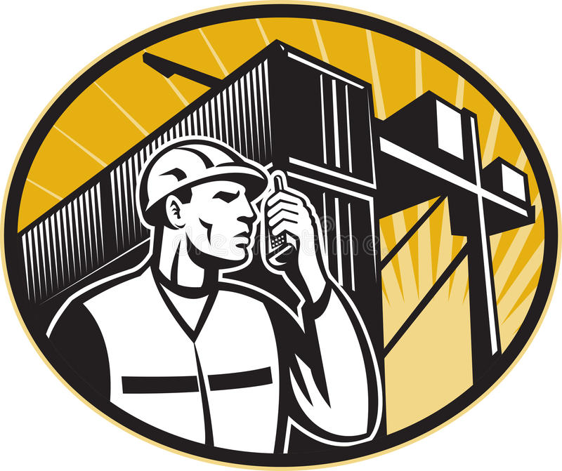 Grue parlante de conteneur de téléphone d'ouvrier de dock illustration de vecteur