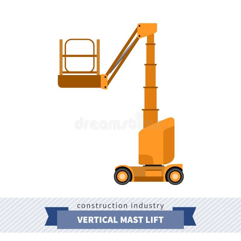 Grue verticale d'ascenseur de mât d'homme aérien illustration de vecteur