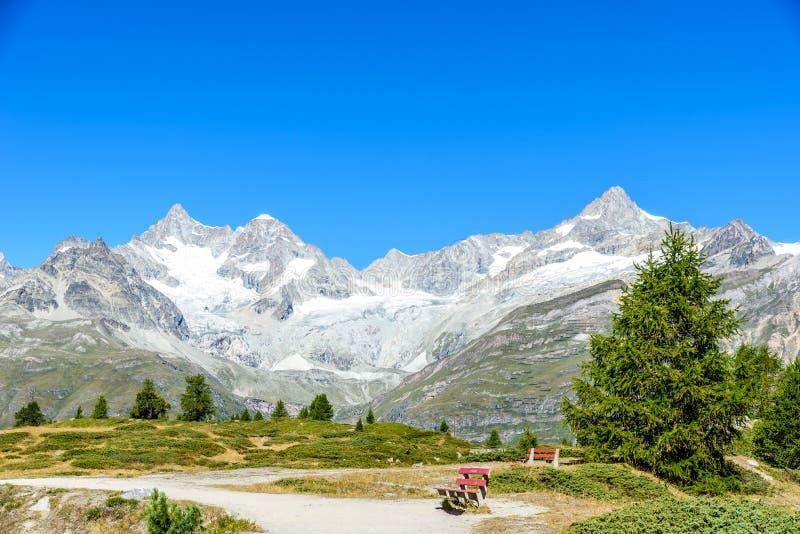 Gruensee (lago verde) con la vista alla montagna del Cervino - trekking nelle montagne vicino a Zermatt in Svizzera fotografie stock