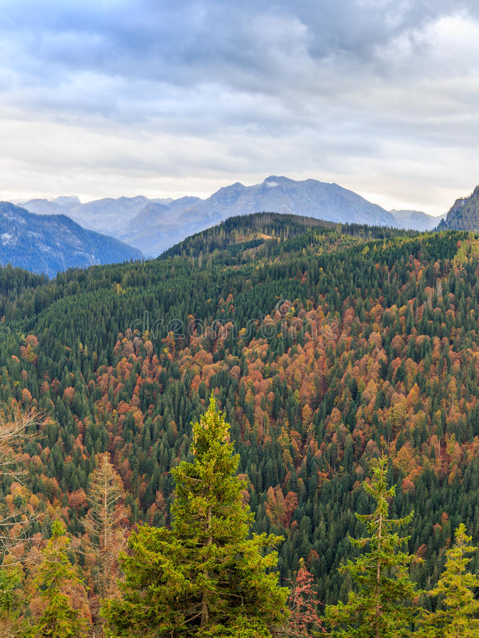 Gruenstein Mountain. View from the Gruenstein Mountains at the sea of Kings in Berchtesgaden. Lovely Landscape Autumn Picture from the Alps in Bavaria, Germany stock photo