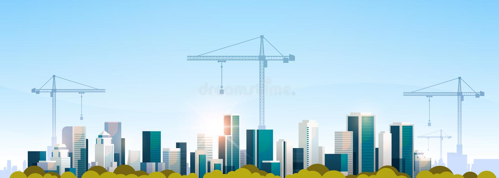 Grues à tour modernes de chantier de construction de ville construisant l'appartement de fond d'horizon de coucher du soleil de p illustration stock