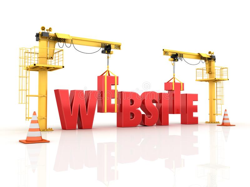 Grues établissant le SITE WEB Word illustration stock