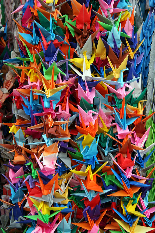 Grues d'Origami images libres de droits