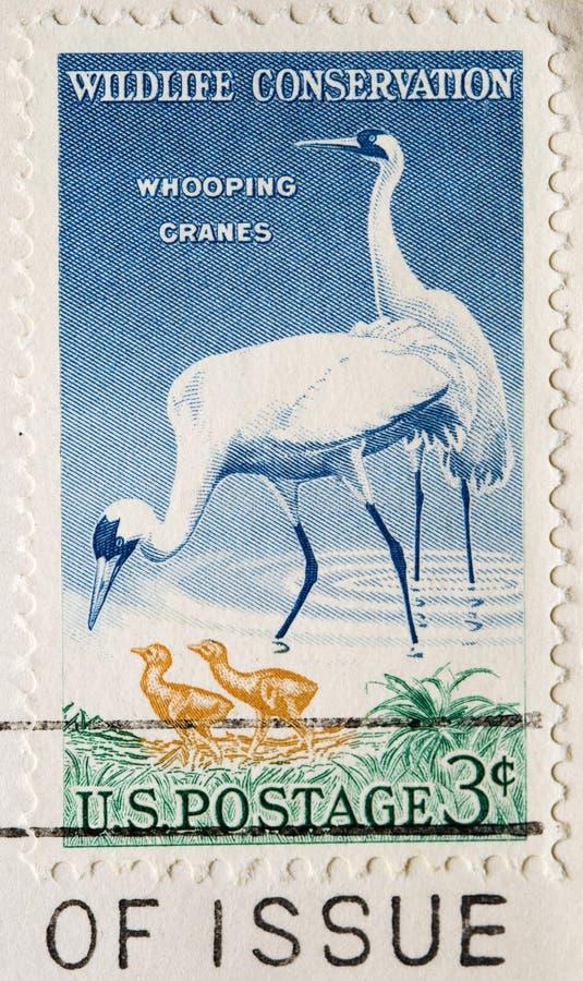 Grues de huée de timbre-poste photos stock
