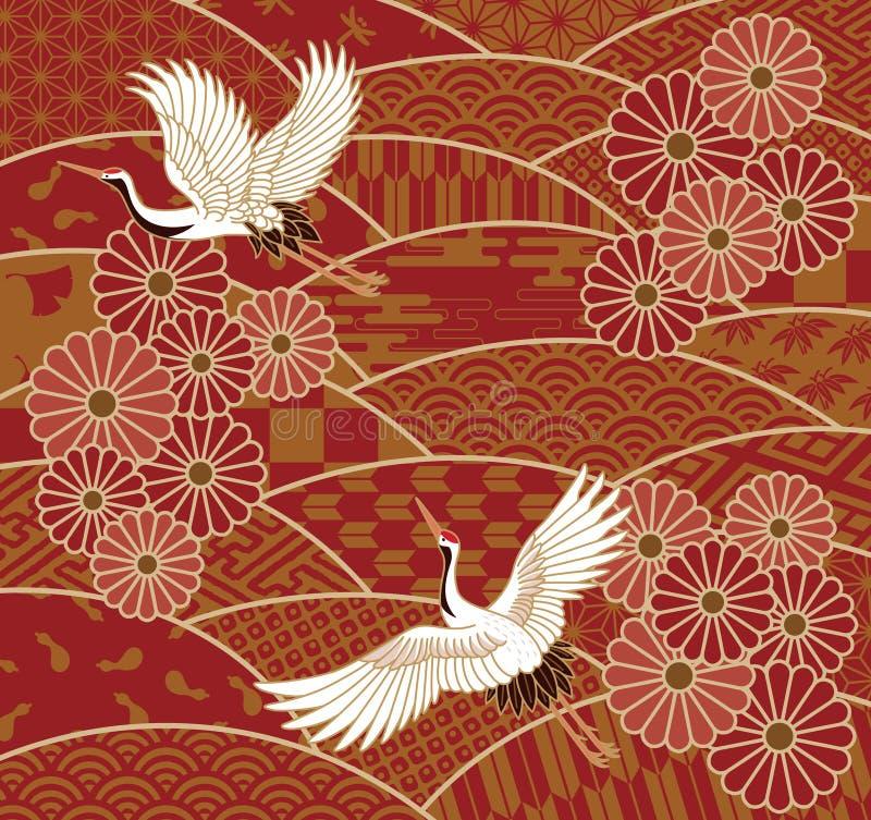 Grues et modèle de vague traditionnel japonais de chrysanthèmes illustration stock