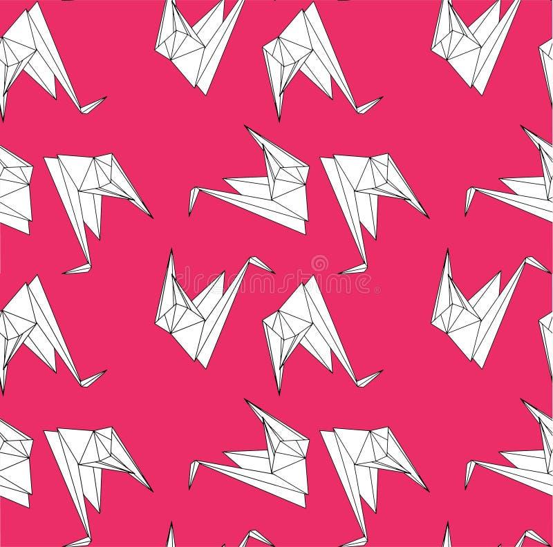 Grues sans couture de papier de répétition illustration libre de droits