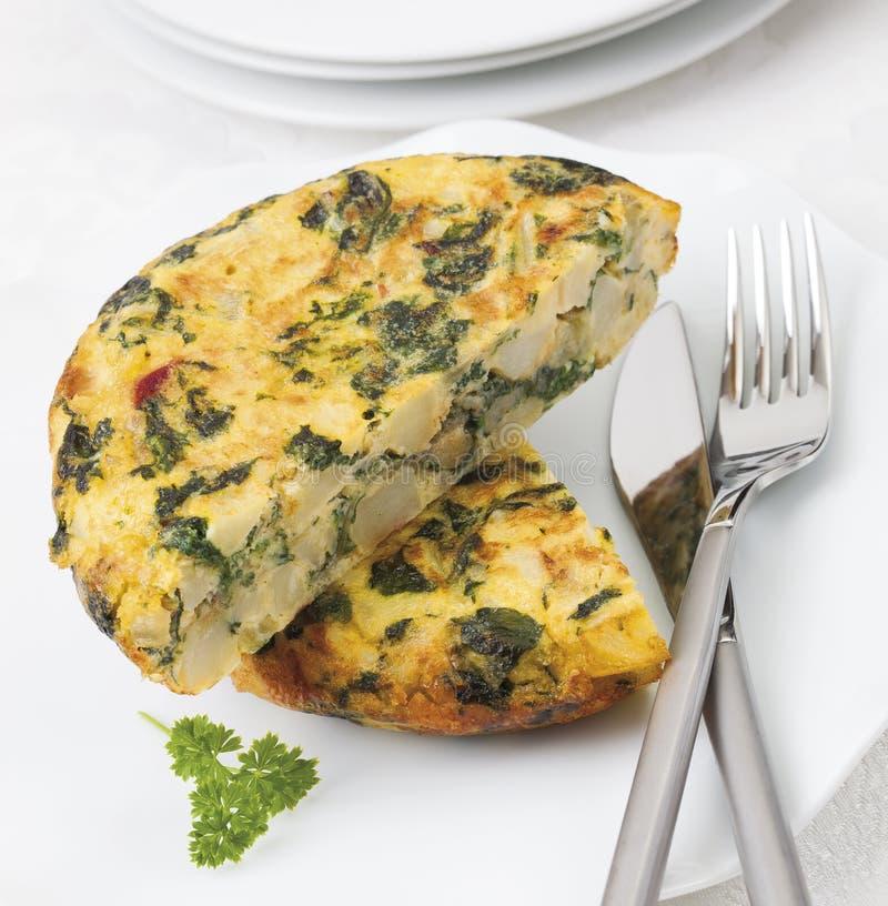 Gruli i szpinaków omlet obraz royalty free
