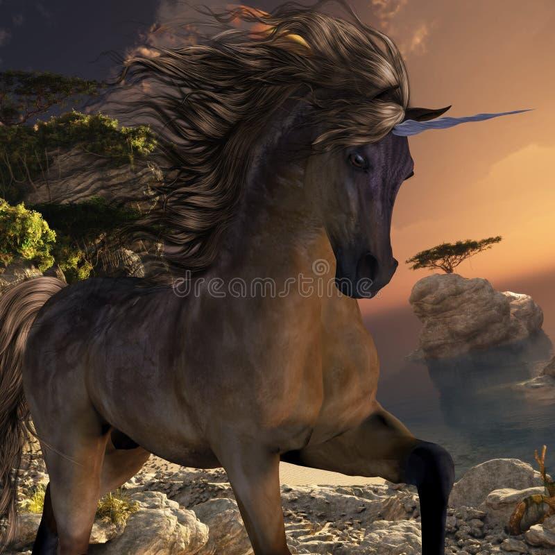 Grulla Buck Unicorn stock illustrationer