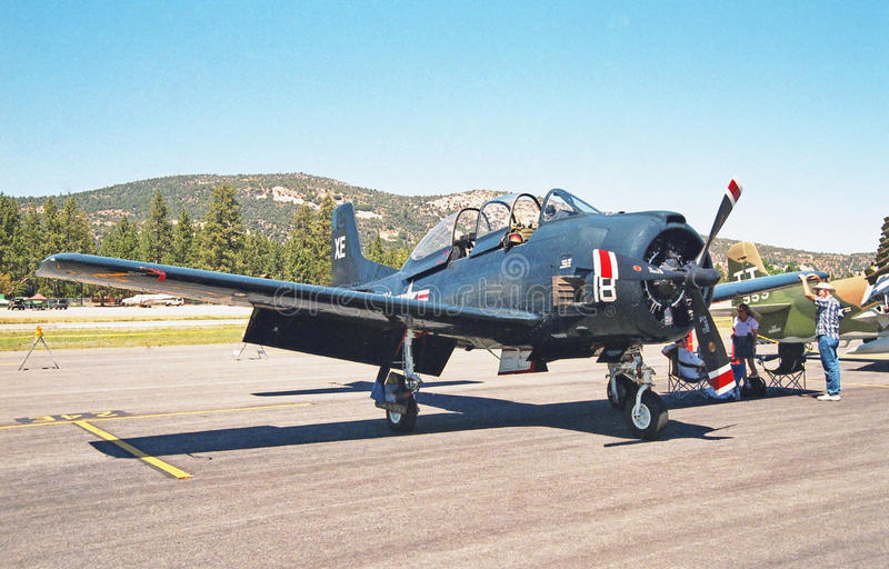 Grumman F6F Hellcat. This is a well maintained World War II era Grumman F6F Hellcat which was both an aircraft carrier and land based aircraft used as a fighter royalty free stock photo