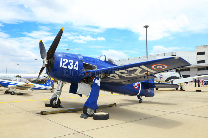Grumman F8F Bearcat was showed. BANGKOK, THAILAND - JUNE 29: Grumman F8F Bearcat was showed in Cerebration of 100 year of Royal Thai air force (RTAF) at Don stock photo