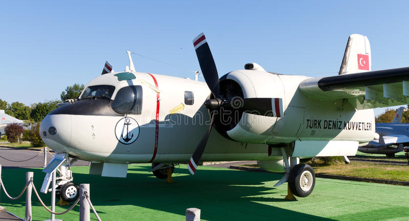 Grumman S-2E Tracker. In Istanbul Aviation Museum on September 22, 2012 in Istanbul, Turkey. S-2 introduced in 1954, built 1,284 and remaining in service into stock photos