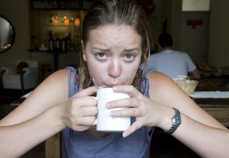 Download Grumpy stock image. Image of female, morning, upset, caucasian - 15499967