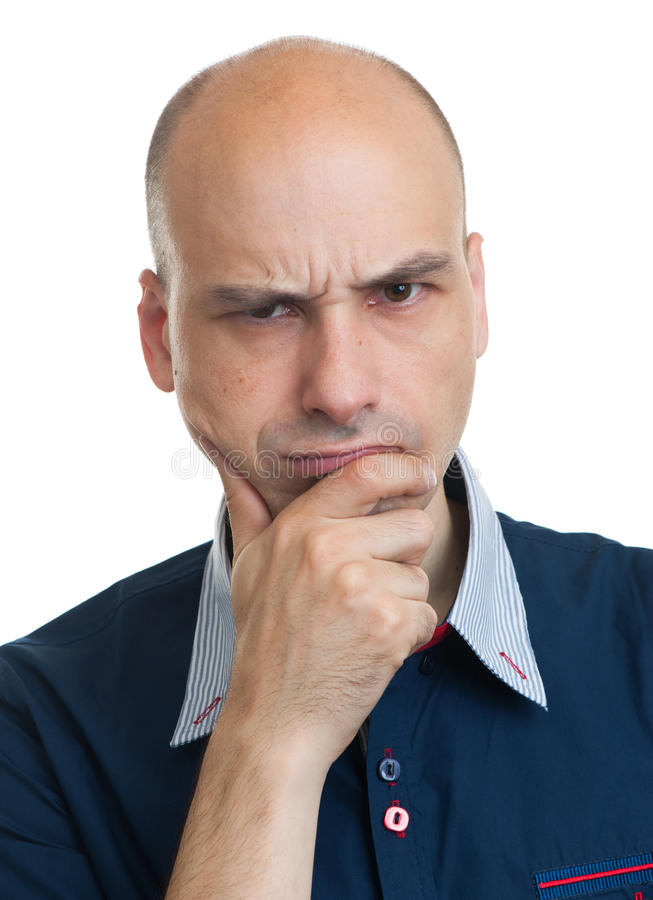 Grumpy bald guy royalty free stock photography