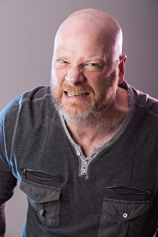 Grumpy bald man. Bald man with beard with angry expression on his face stock photo