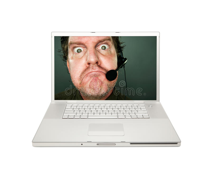 Download Grumpy Customer Service Man On Laptop Screen Stock Photo - Image: 14564990