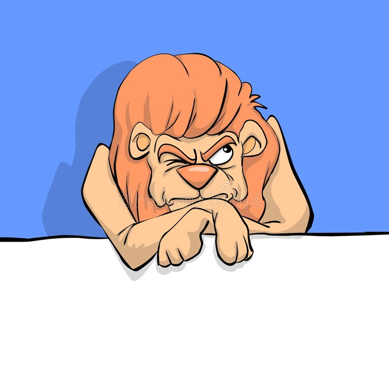 A grumpy lion. Leaning against a banner vector illustration