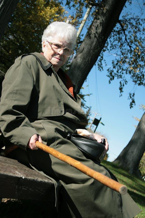 Grumpy old woman. Grumpy senior woman pointing her walking stick at someone stock photos