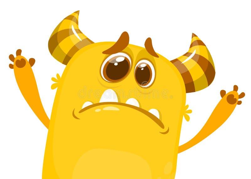 Grumpy upset monster cartoon. Halloween character vector illustration