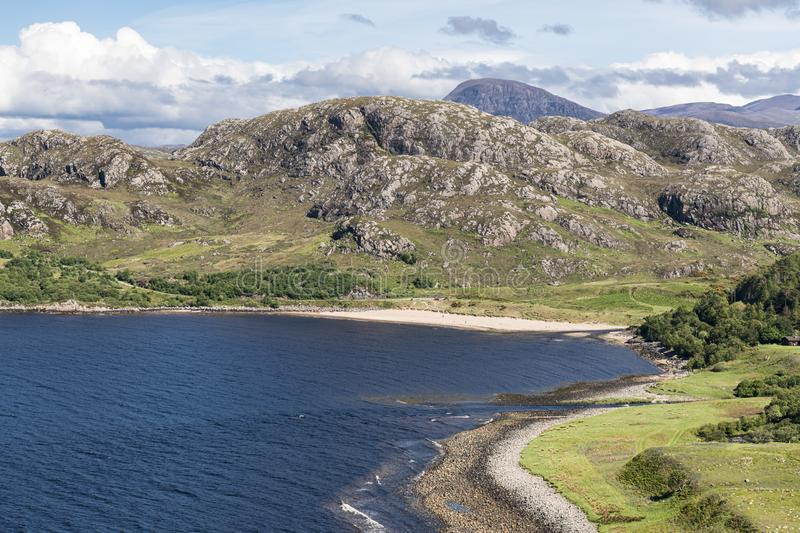 Grunard Bay. A summers day by the sea and beach at Gruinard Bay in Wester Ross, Highlands, Scotland royalty free stock photo