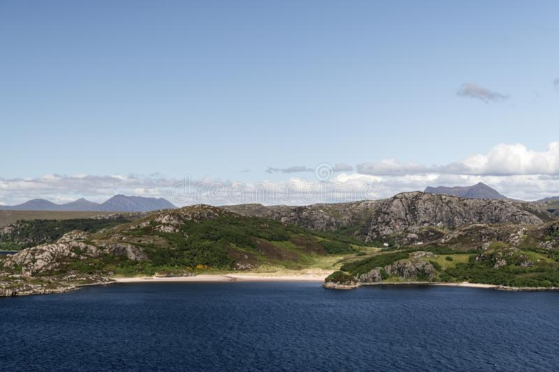 Grunard Beach. A summers day by the sea and beach at Gruinard Bay in Wester Ross, Highlands, Scotland royalty free stock photography