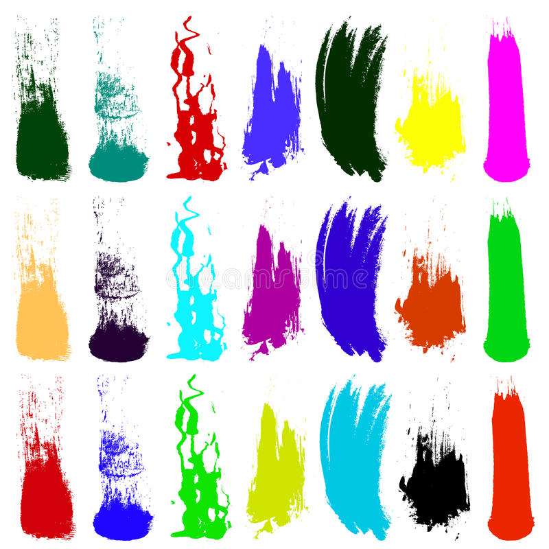Grunch brush vectors. Different shapes of Grunch brush vectors created with brushes royalty free illustration