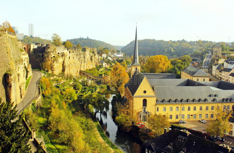 Grund和修道院卢森堡视图  库存照片