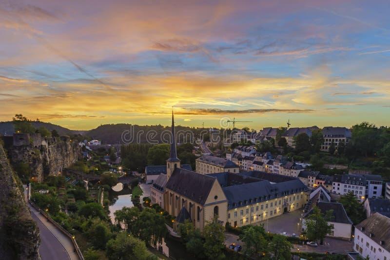 Grund,卢森堡的雄伟看法 免版税库存照片