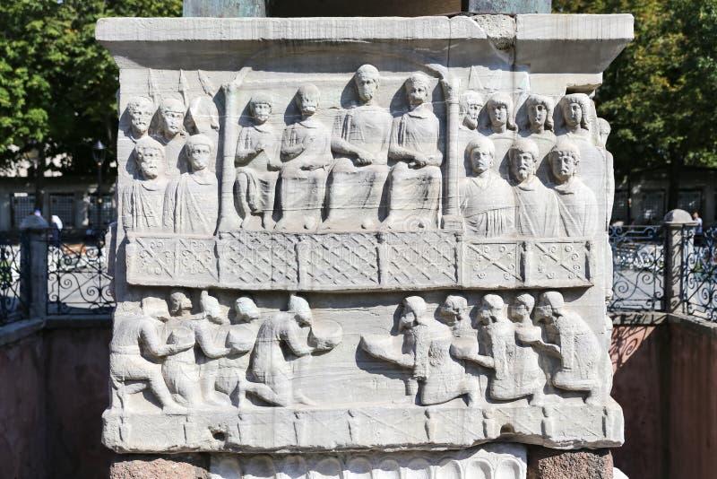 Grund av obelisken av Theodosius i Istanbul royaltyfri bild