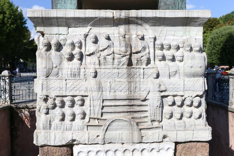 Grund av obelisken av Theodosius i Istanbul royaltyfria foton