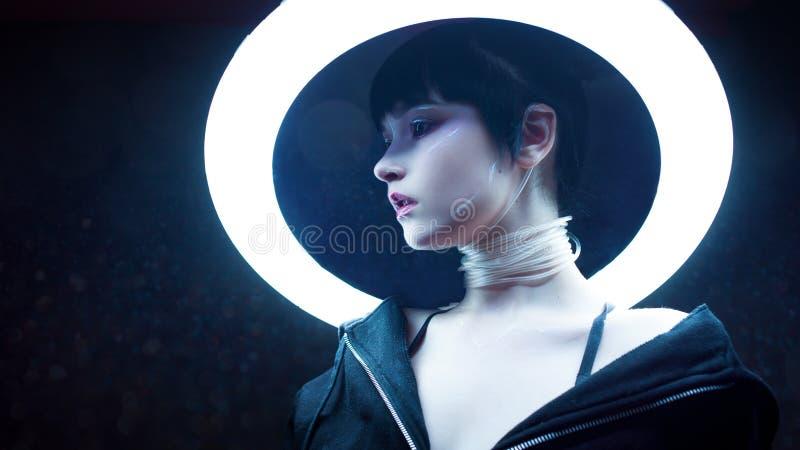 grund flicka för cyberdof-effekt Härlig ung kvinna, futuristisk stil royaltyfri foto