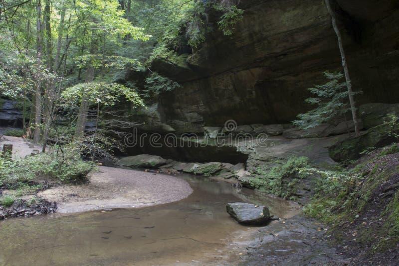 Grund grotta med strömmen royaltyfria bilder