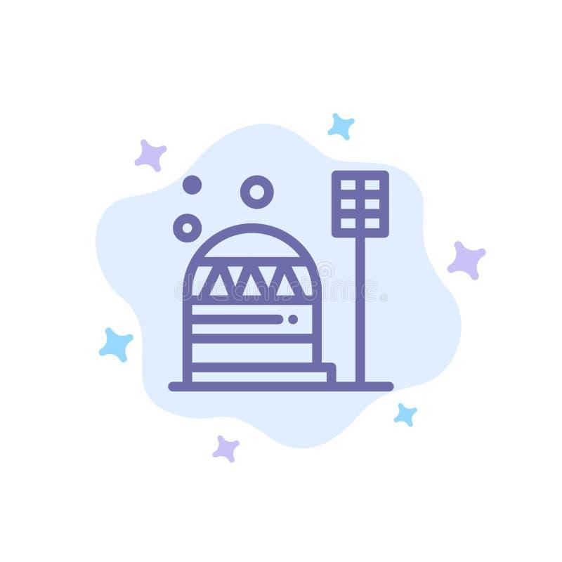 Grund koloni, konstruktion, kupol, blå symbol för boning på abstrakt molnbakgrund vektor illustrationer