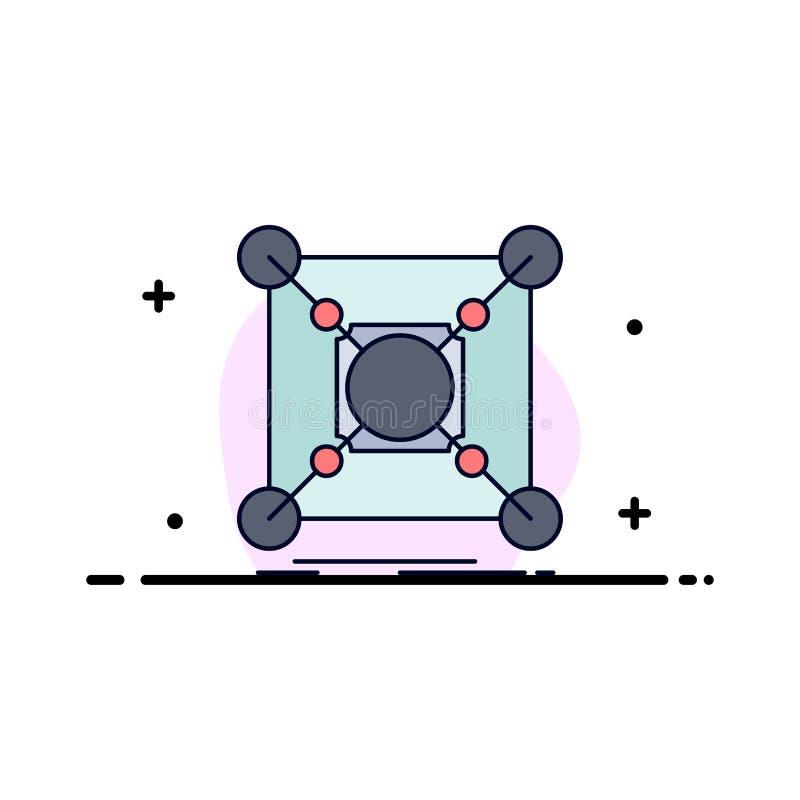 Grund mitt, anslutning, data, för färgsymbol för nav plan vektor vektor illustrationer